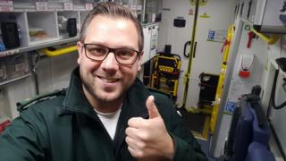 Paramedic Rob Moore with a thumbs up