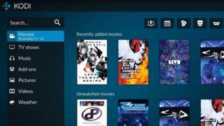Kodi menu screen