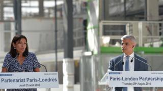 London Mayor Sadiq Khan and Paris Mayor Anne Hidalgo