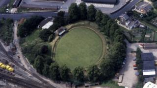 Remains of Welshpool's motte and bailey castle from the air