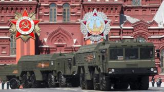 Iskander missile launchers in Moscow (file photo 9 May 2015)