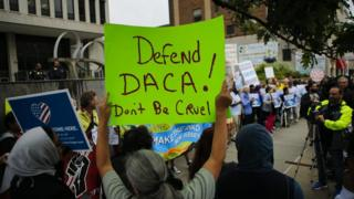 Immigration activists protest against Trump plans on 6 September.