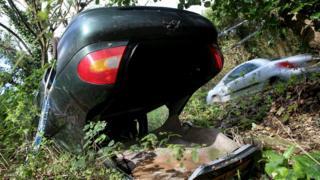 Crashed car in Cornwall