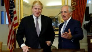 British Foreign Secretary Boris Johnson (L) meets with Senate Foreign Relations Committee Chairman Bob Corker (R) in the U.S. Capitol in Washington, U.S., January 9, 2017