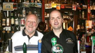 Leo and his son Bartley Brennan at Leo's Tavern