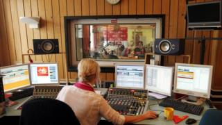 A view of the studio at Radio Trojka