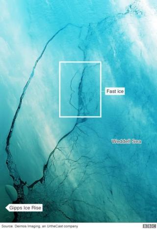 ภาพถ่ายดาวเทียมชี้ว่าภูเขาน้ำแข็ง A-68 เริ่มเคลื่อนตัวจนเห็นรอยแยกกว้างมากขึ้น