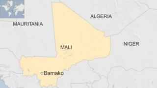 A map showing Mali in Africa