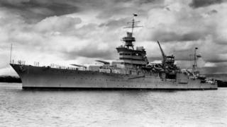 This 1937 image released by the US Navy shows the Portland-class heavy cruiser USS Indianapolis in Pearl Harbour in 1937