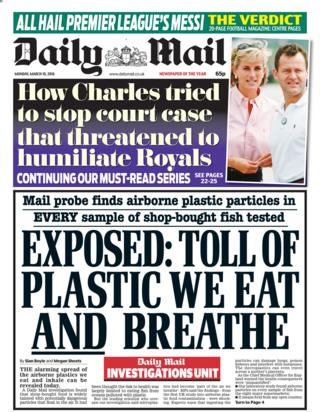 Daily Mail front page - 19/03/18