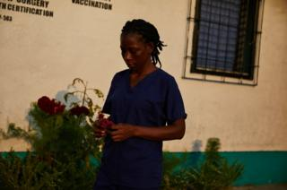 Etta Roberts works as a nurse at the Kahweh clinic.