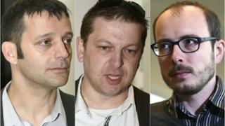 This combination of pictures created on 26 April 26, 2016 (Left to right) French journalist Edouard Perrin, and former employees at services firm PricewaterhouseCoopers (PwC), Raphael Halet and Antoine Deltour, at the courthouse in Luxembourg