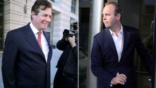 マナフォート元選対本部長(左)と実業家ゲイツ被告
