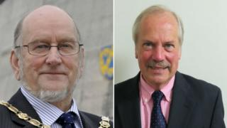 Outgoing leader Malcolm Pate (left) and Peter Nutting