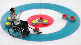 Slovakia's Radoslav Duris competes in the Wheelchair Curling Round Robin Session
