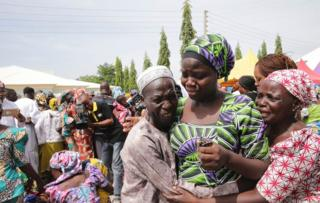 Families unite with the released Chibok girls
