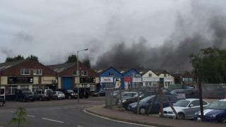Smoke over an industrial unit in Norwich