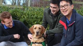 From left: Richard Dix, their dog Urwin, Darcy O'Gara and Steven Luong