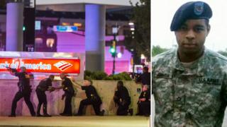 Armed police in Dallas (l) and gunman Micah Johnson