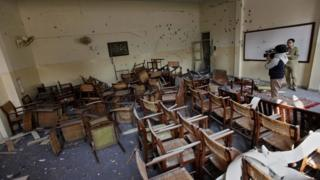 Classroom of Peshawar school attacked by Taliban