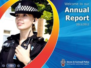 Laura Beal on the cover of a Devon and Cornwall police annual report