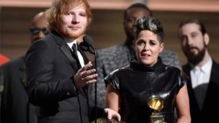 Amy Wadge and Ed Sheeran at the Grammys