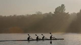 Canoeists on Emmarencia Dam in central Johannesburg, South Africa - Tuesday 3 October 2017