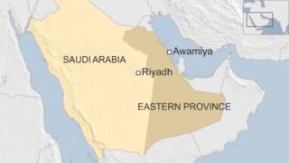 Map of Saudi Arabia showing location of Awamiya