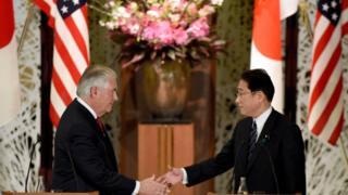 美国国务卿蒂勒森和日本外相岸田文雄
