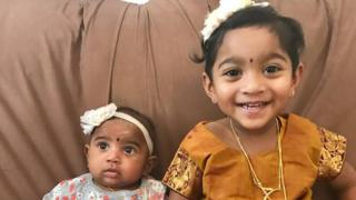 Australian-born Dharuniga (l) and Kopiga (r) pose for the camera