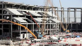 Construction site of the Al Bayt Stadium in Doha, Qatar (9 January 2017)