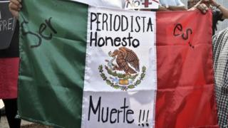 """A woman holds Mexican flag with an inscription that reads """"To Be a Honest Journalist is Death"""" during a demonstration on 1 August, 2015,"""