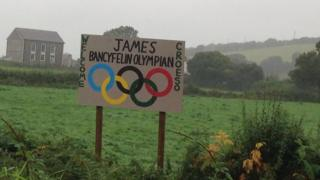 Welcome home sign for James Davies