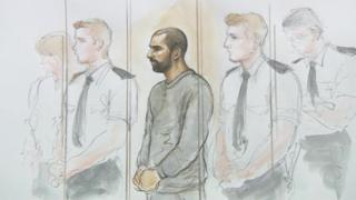 Artist's impression of Ajay Jetha in court