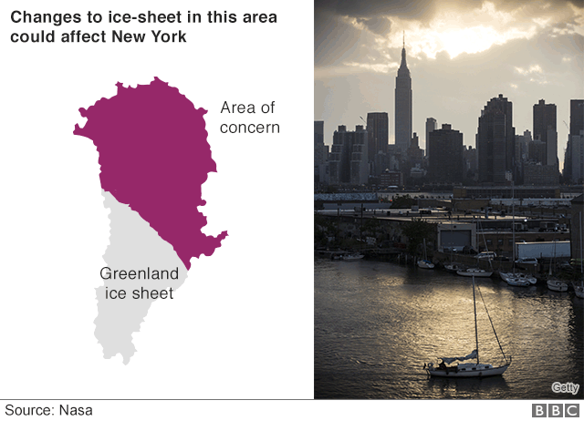 For New York, the area of concern is the ice sheet's entire northern and eastern portions