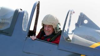 Ray Roberts after landing in a Spitfire at the launch of the celebrations the mark the centenary of Biggin Hill airport