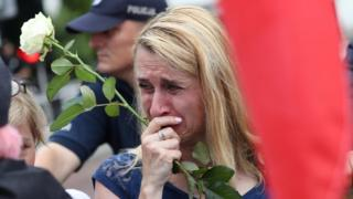 A protester cries during a demonstration in front of the Sejm building in Warsaw, Poland, 20 July 2017.