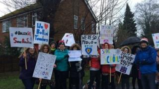 Parents demonstrated outside the school on Thursday