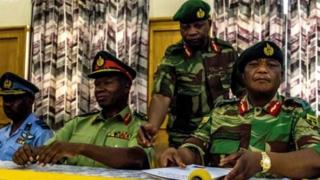 Constantino Chiwenga with other security oga for Monday press briefing