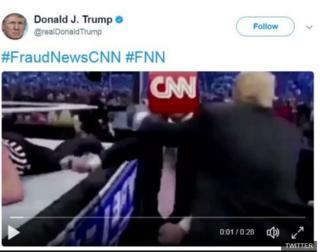 صورة لمقطع الفيديو الذي نشره ترامب على تويترز