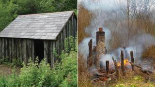 Old gangers hut before and after the blaze