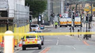 Scene in Manchester the day following the attack on Manchester Arena