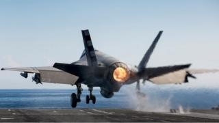 F-35 taking off