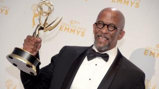 Reg E Cathey with Emmy award for guest actor in a drama for House of Cards, at Microsoft Theater on September 12, 2015 in Los Angeles, California