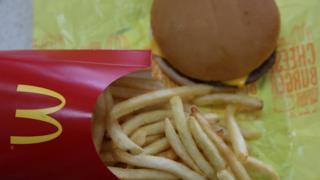 A McDonald's cheeseburger and fries