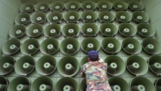 A wall of South Korean loudspeakers, for broadcasting propaganda across the border