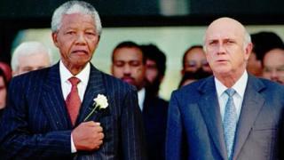 Nelson Mandela and FW De Klerk in 1994