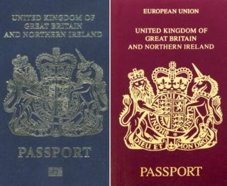 A Blue and Burgundy British passport
