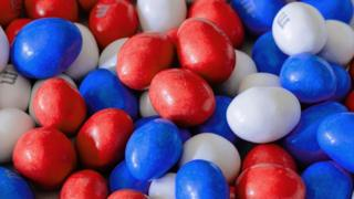Red, white and blue M&Ms