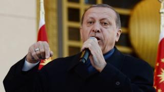 Эрдоган выступает с речью